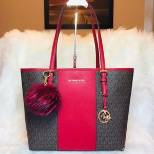Michael Kors Center Stripe Tote with Fur Charms